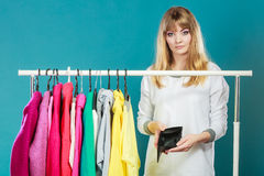 Woman with shopaholic problems. Stock Image