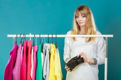 Woman with shopaholic problems. Stock Images