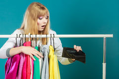 Woman with shopaholic problems. Stock Photography