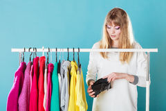 Woman with shopaholic problems. Stock Photos