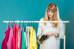 Woman with shopaholic problems. Royalty Free Stock Photos