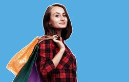 Woman with shoping bags. Ð¡ommerce and shopping season. Happy young woman with shoping bags. Magazine style collage with copy space royalty free stock photos