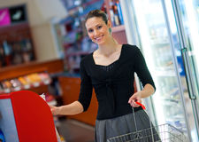 Woman shoping in store Stock Images