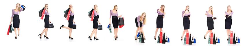 Woman shopper with bags different poses isolated Royalty Free Stock Image