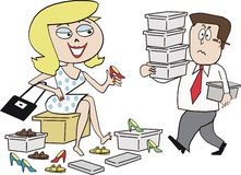 Woman shopper cartoon. Cartoon of smiling woman buying selection of shoes in store Stock Photos