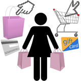 Woman shopper shop buy symbol icons set. A woman shopper symbol and shopping buyer symbol icons set Royalty Free Stock Photography