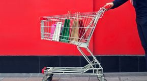 Woman shopper and shopping bag in a trolley shopping cart Stock Image