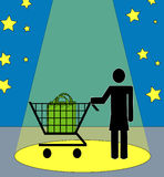 Woman shopper in spotlight Stock Image
