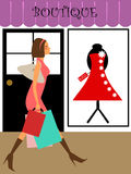 Woman Shopper Walking in Boutique Store Stock Images