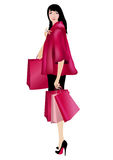 Woman Shopping. Beautiful girl with shopping bags.Illustration created with gradient mesh Stock Photography