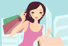 Woman at the shopping Stock Images