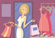 Woman shopping. Illustration of woman buying clothes in store. Dresses and footwear in the background. With space for your text Stock Images