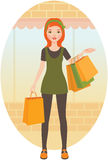 Woman with shopping Stock Photography