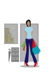 Woman shopping. Cartoon woman shopping on white background Stock Photo