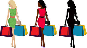 Woman and shopping. Three types of fashionable woman with shopping bags Royalty Free Stock Photos