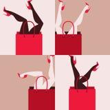Woman shopping. Funny poster vector illustration stock illustration