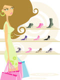 Woman in shopping. Illustration of a Woman Holding Shopping Bags Royalty Free Stock Photos