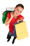Woman Shopping. Happy woman with shopping bags Stock Images