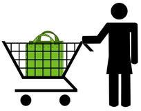 Woman shopping. Stick woman pushing shopping cart with bag Stock Photos