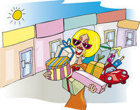 Woman at shopping. Cartoon illustration of blonde woman at shopping Stock Image