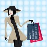 Woman at shopping. Vector beautiful elegant woman doing shopping vector illustration