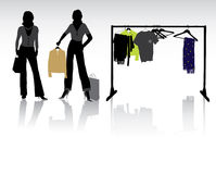 Woman shopping. Isolated pretty woman shopping with bags Stock Photography