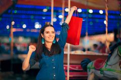 Woman Shopping in Amusement Park on Holiday Fair Season Stock Photo