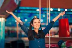 Woman Shopping in Amusement Park on Holiday Fair Season Stock Photography