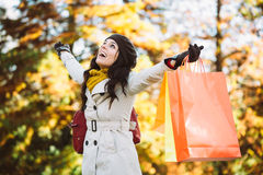 Woman shopping in autumn Royalty Free Stock Photo