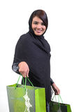Woman and shopping bag Stock Images