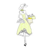 Woman with shopping bag. Universal template for greeting card, web page, background Royalty Free Stock Image