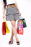 Woman with Shopping Bag. Asian woman with her shopping bags isolated on white Stock Photos
