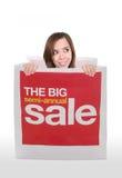 Woman in Shopping Bag Stock Photo