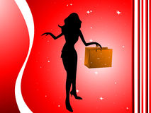 Woman with shopping bag. On abstract background royalty free illustration