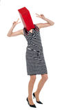 Woman with shopping bag as her face Stock Photo