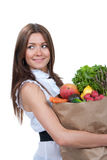 Woman shopping bag with groceries vegetables Stock Image
