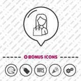 Woman with Shopping bag icon thin line Bonus Icons. Eps10 Vector.  vector illustration
