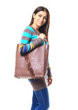Woman shopping with bag royalty free stock photos