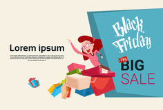 Woman With Shopping Bag Present Box Black Friday Big Sale Banner Stock Photos
