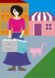 A woman with shopping bag Stock Photography