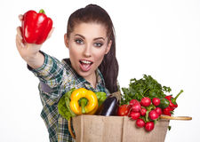 Woman shopping bag of vegetables Royalty Free Stock Photos
