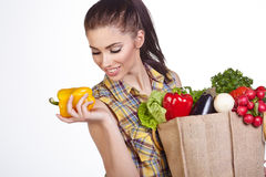 Woman shopping bag of vegetables Royalty Free Stock Photography