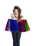 Woman and shopping bags Royalty Free Stock Photography