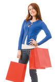 Woman with shopping bags. Young woman with shopping bags, isolated Stock Image