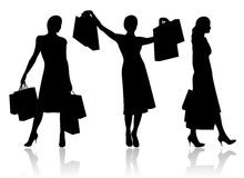 Woman with shopping bags. Vector Royalty Free Stock Photos