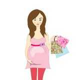Woman shopping bags against a white background Royalty Free Stock Photos