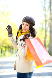 Woman with shopping bags on autumn Royalty Free Stock Photo