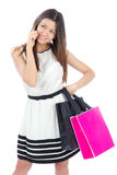 Woman with shopping bags buying presents Royalty Free Stock Photos