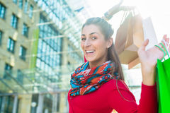 Woman shopping with bags in city Stock Photo