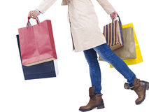 Woman with shopping bags. Woman with colorful shopping bags, isolated on white stock photos